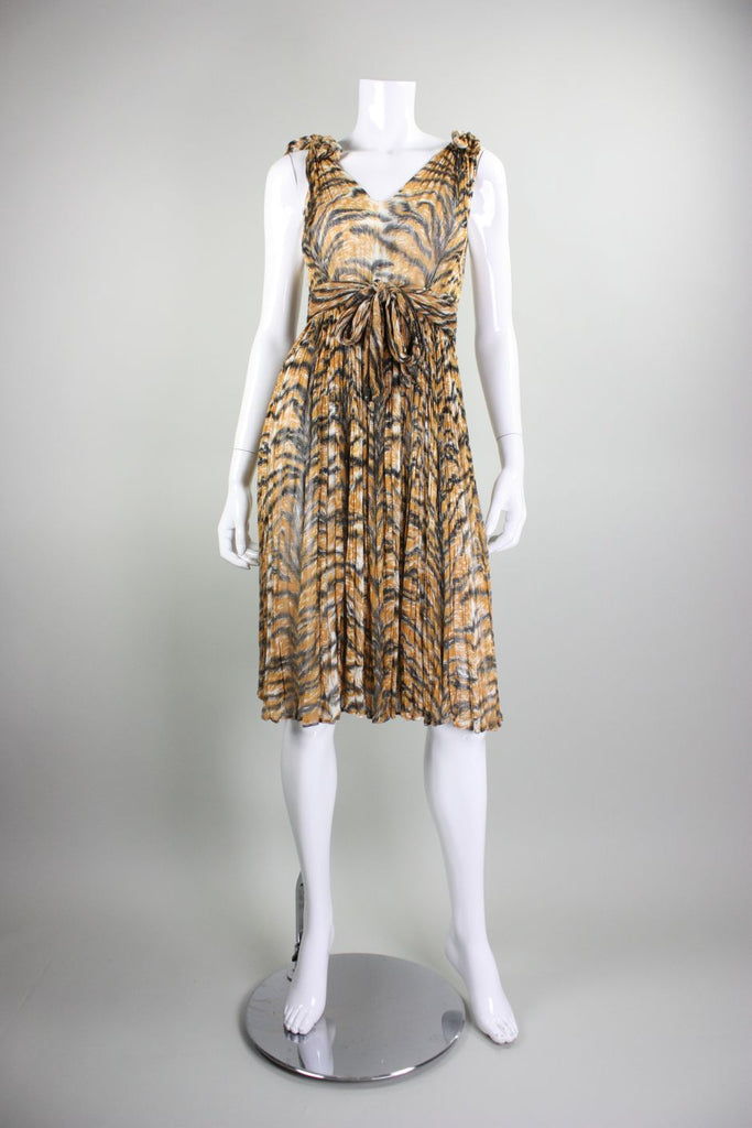1970's Dress Tiger Print Cotton Gauze Day Vintage - regenerationvintageclothing