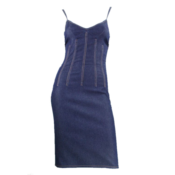 Dolce & Gabbana Dress 1990's Denim Corset Vintage - regenerationvintageclothing