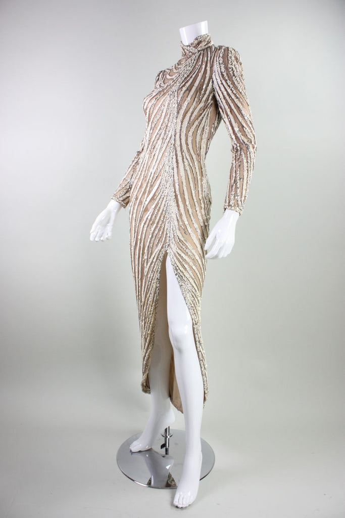1980's Bob Mackie Beaded & Sequined Gown