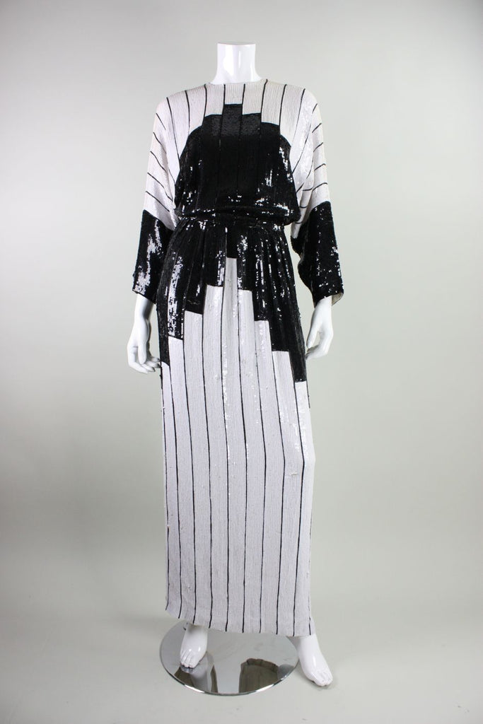 1980's Gown Saz Sequined Color-Blocked with Batwing Sleeves Vintage - regenerationvintageclothing