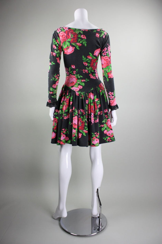 Betsey Johnson Dress 1980's Punk Label Floral Vintage - regenerationvintageclothing
