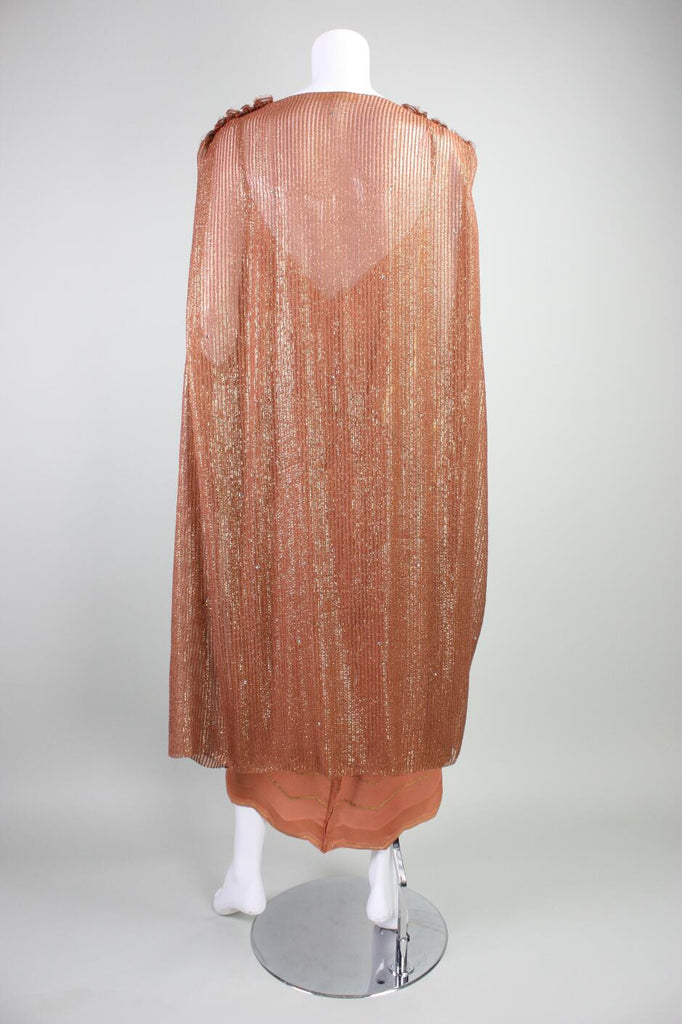 Holly's Harp Dress 1980's Metallic and Cocoon Coat Vintage - regenerationvintageclothing