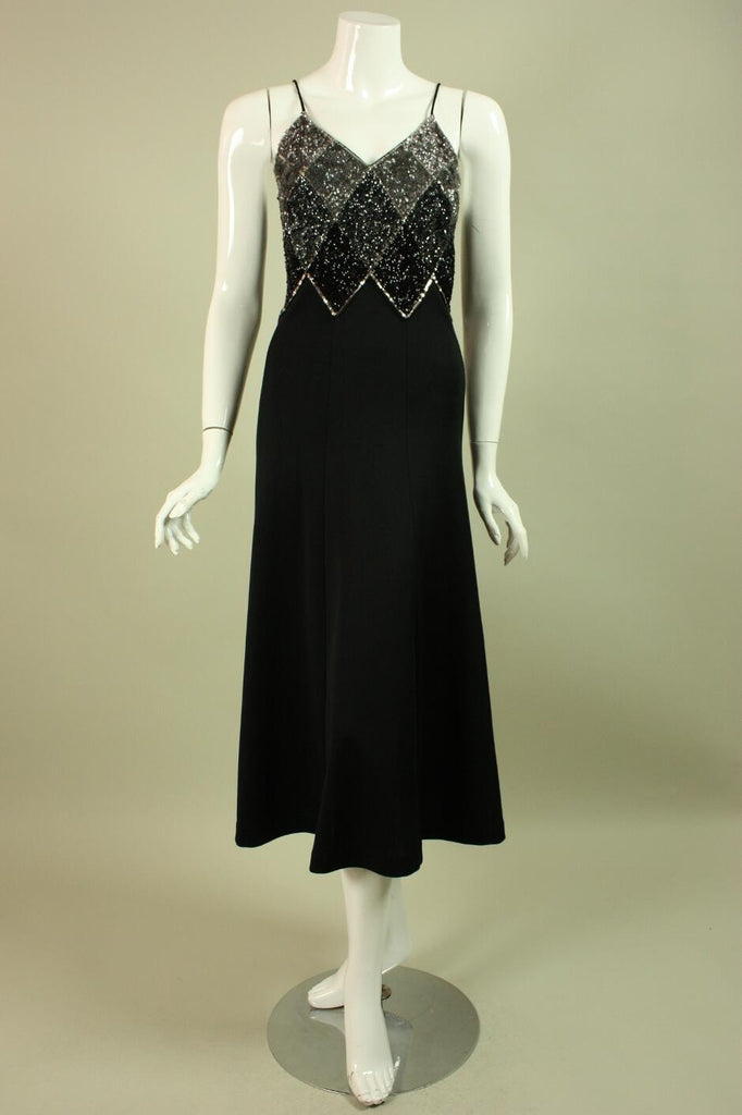 1970's Dress Black Jersey Sequined Vintage - regenerationvintageclothing