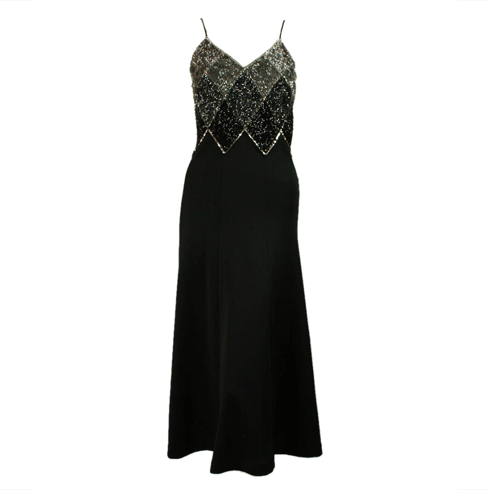 Vintage Clothing: 1970's Black Jersey Sequined Dress