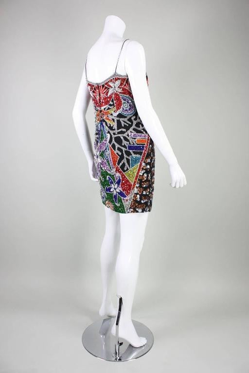 Riazee Cocktail Dress Beaded & Sequined 1980's Vintage - regenerationvintageclothing