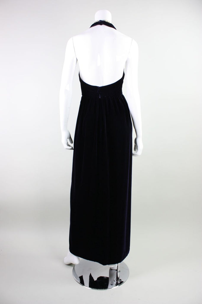 Chanel Gown 1990's Velvet with Pearl Detailing Vintage - regenerationvintageclothing