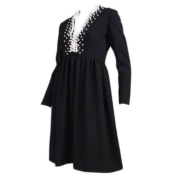 Donald Brooks Cocktail Dress 1960's with Pearl Detailing Vintage - regenerationvintageclothing
