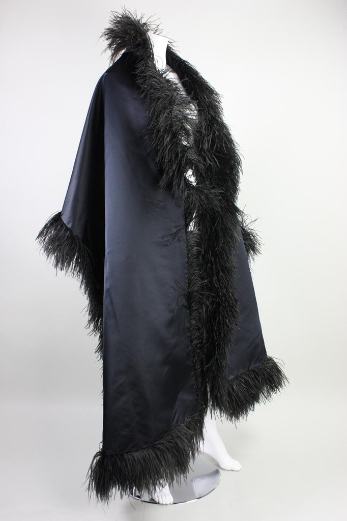 Vintage 1960's Silk Satin & Feather Wrap