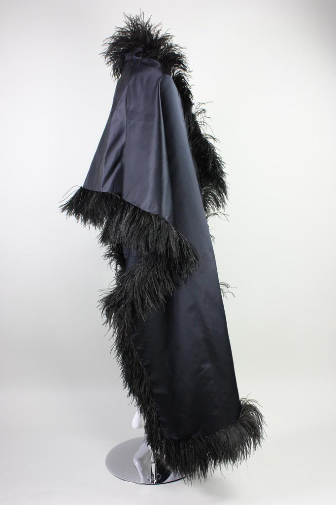 1960's Wrap Silk Satin & Feather Vintage - regenerationvintageclothing