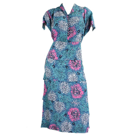 1940's Dress Teal Rayon with Novelty Print Vintage - regenerationvintageclothing