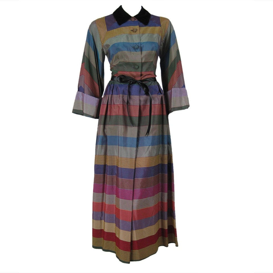 1950's Dress Multicolor Taffeta Striped Plaid Vintage - regenerationvintageclothing