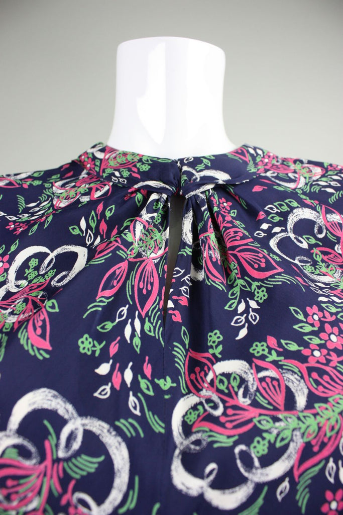1940's Dress Blue Rayon with Painterly Floral Print Vintage - regenerationvintageclothing