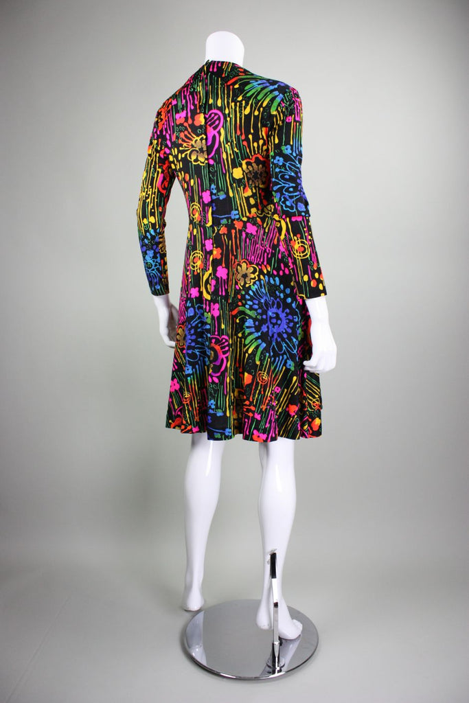 1970's Dress with Neon Psychedelic Print