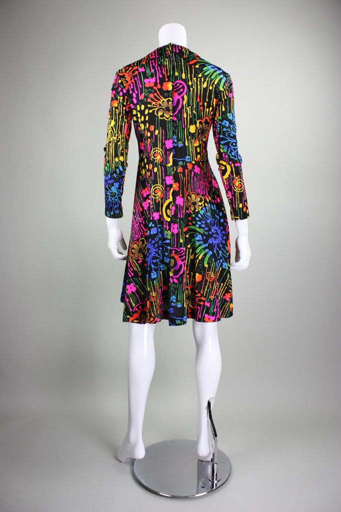 1970's Dress with Neon Psychedelic Print Vintage - regenerationvintageclothing