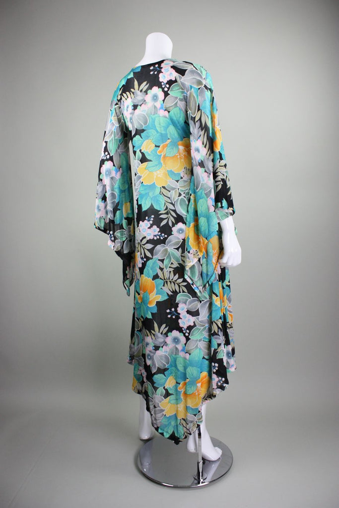 1970's Dress Floral Jersey with Angel Wing Sleeves Vintage - regenerationvintageclothing