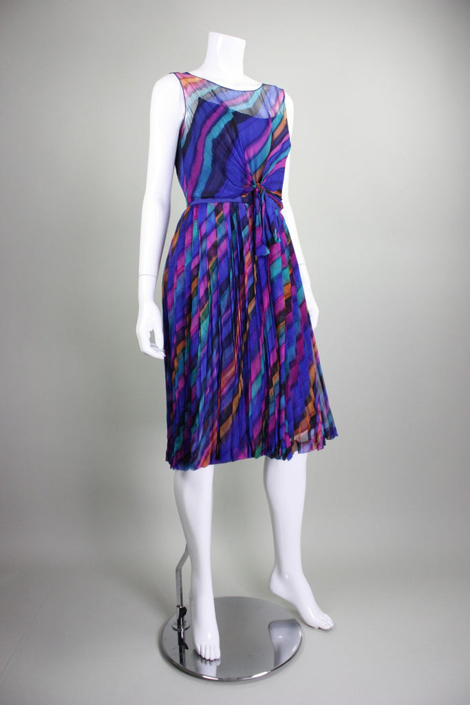 1950's Cocktail Dress Rima of London Silk Chiffon with Watercolor Stripes Vintage - regenerationvintageclothing