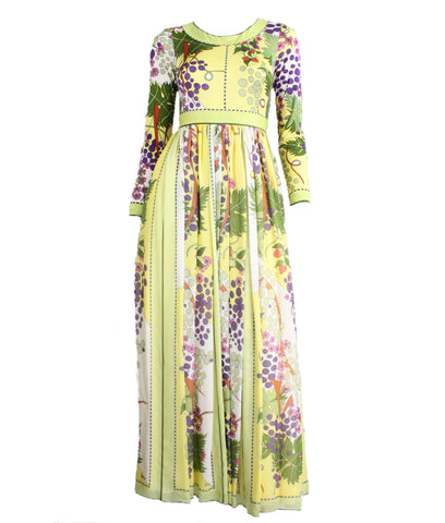 Bessi Maxi Dress 1970's Pale Yellow with Floral Print Vintage - regenerationvintageclothing