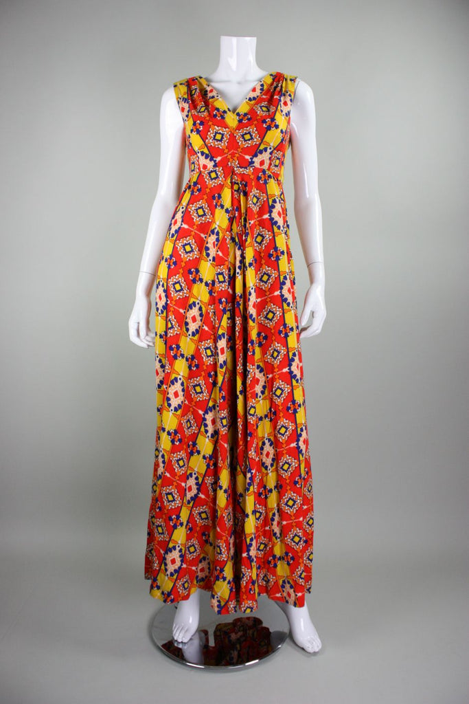 1970's Jumpsuit Floral Print with Wide Legs Vintage - regenerationvintageclothing