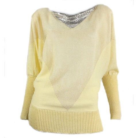 1980's Sweater Lorna Adams  with Gold Metal Mesh Bib Vintage - regenerationvintageclothing