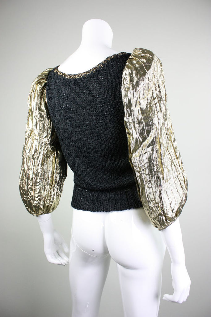 1980's Sweater Black with Gold Lamé Sleeves Vintage - regenerationvintageclothing