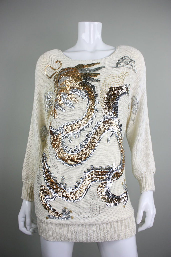 1980's Sweater with Large Sequined Dragon Nannell Vintage - regenerationvintageclothing