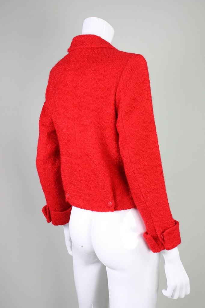 Chanel Jacket 1990's Red Bouclé Vintage - regenerationvintageclothing