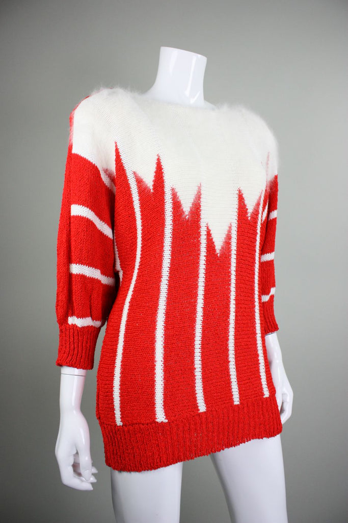 1980's Sweater Red & White Mohair Stripe Vintage - regenerationvintageclothing