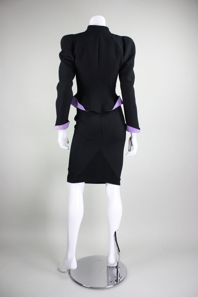 Thierry Mugler Skirt Suit 1980's Black with Lilac Detailing Vintage - regenerationvintageclothing