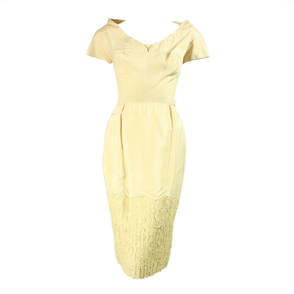 1950's Cocktail Dress Cream Silk Vintage - regenerationvintageclothing