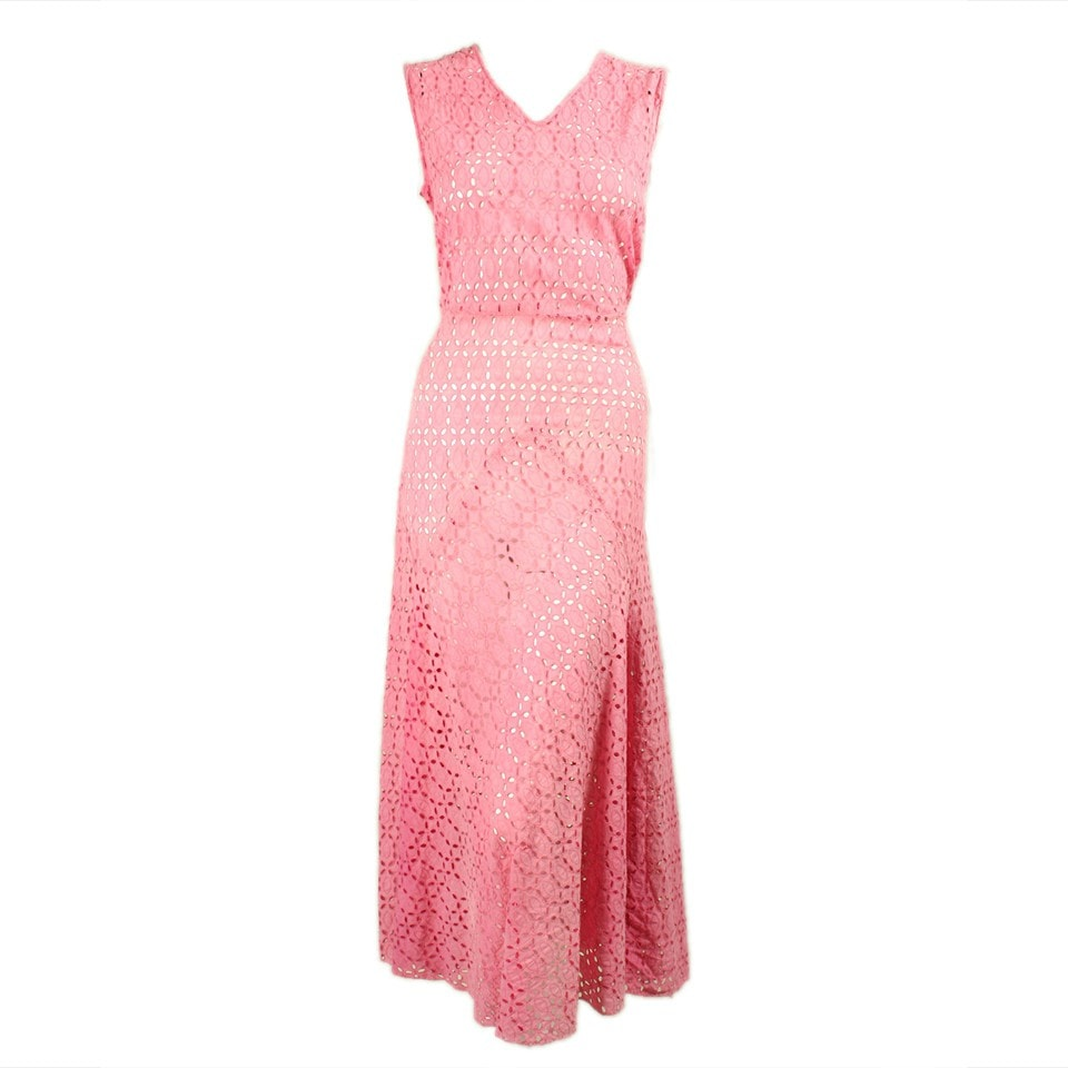 Vintage Clothing: 1930's Pink Cotton Eyelet Dress