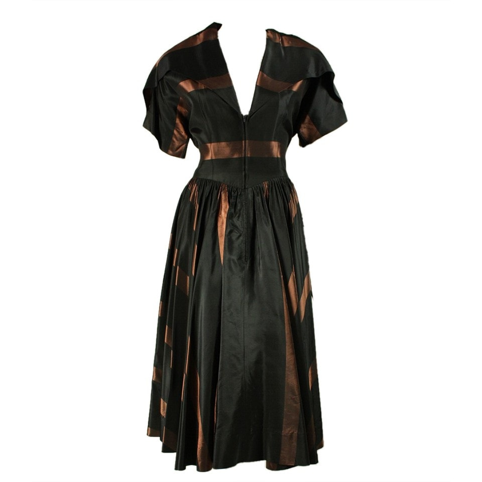 1950's Cocktail Dress Black & Brown Striped Taffeta Vintage - regenerationvintageclothing