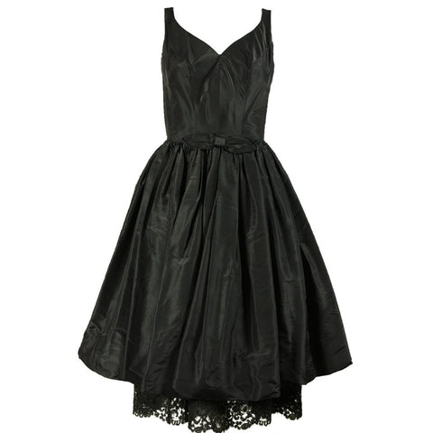 1950's Dress Burton Miller Black Taffeta Vintage - regenerationvintageclothing