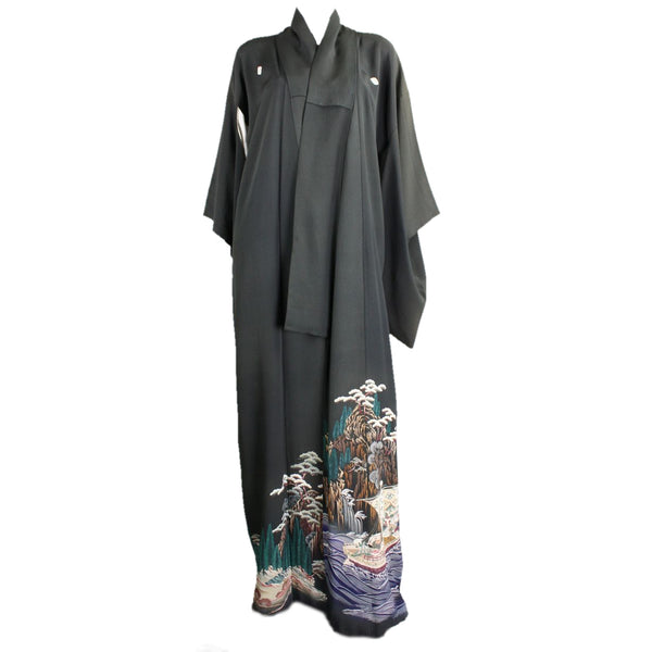 Vintage Japanese Kimono Black Silk with Hem Illustration