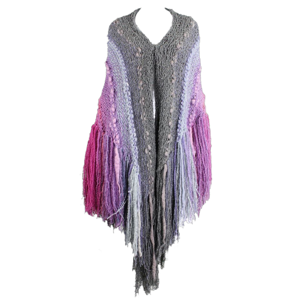 1980's Textured Knit Cape with Longe Fringe - regenerationvintageclothing
