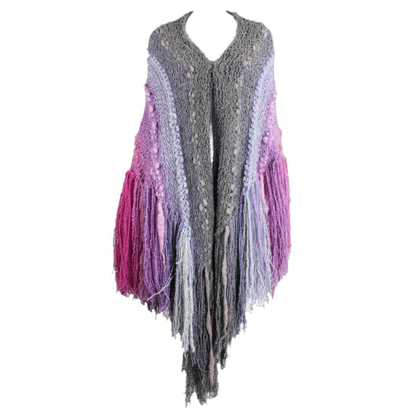 1980's Textured Knit Cape with Longe Fringe