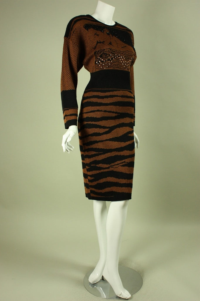Vintage 1980's Lillie Rubin Knit Dress