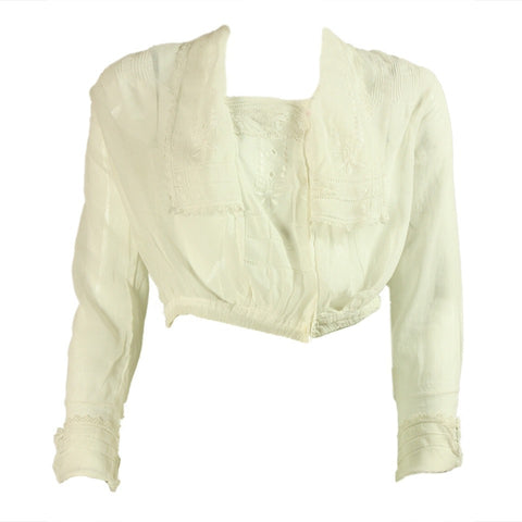 Edwardian Blouse Lawn with Embroidery Vintage - regenerationvintageclothing