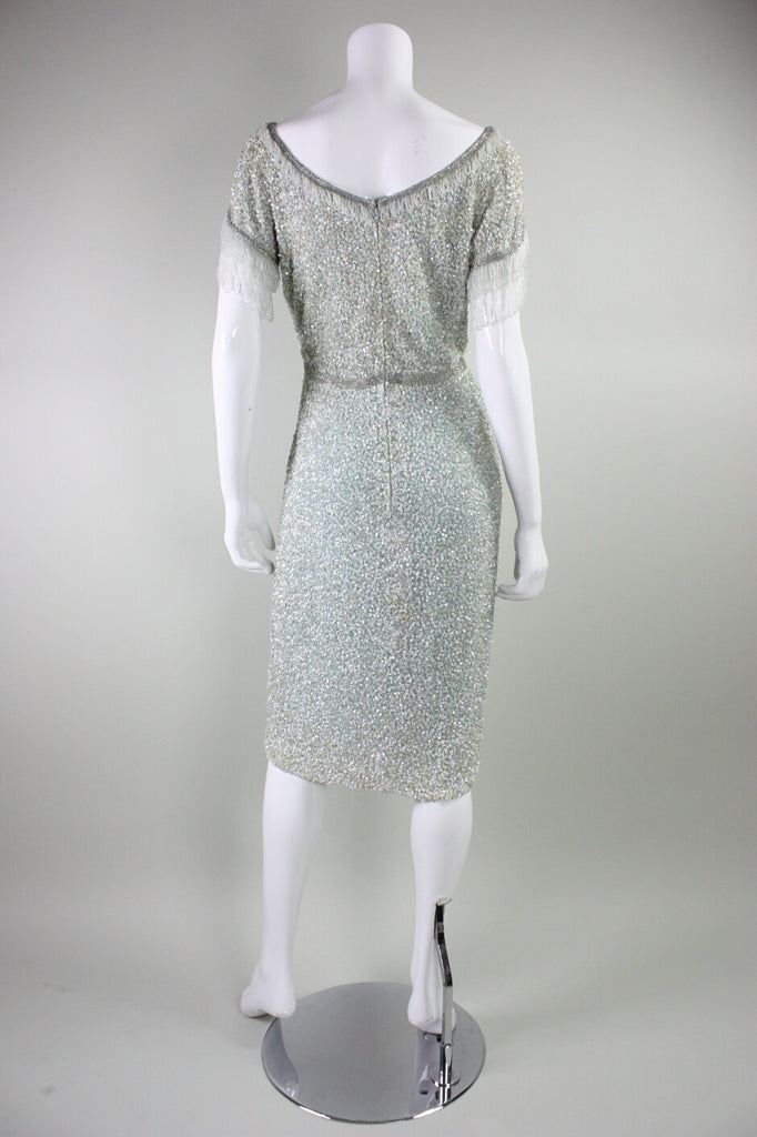 1960's Cocktail Dress Fully Sequined Iceberg Blue Vintage - regenerationvintageclothing