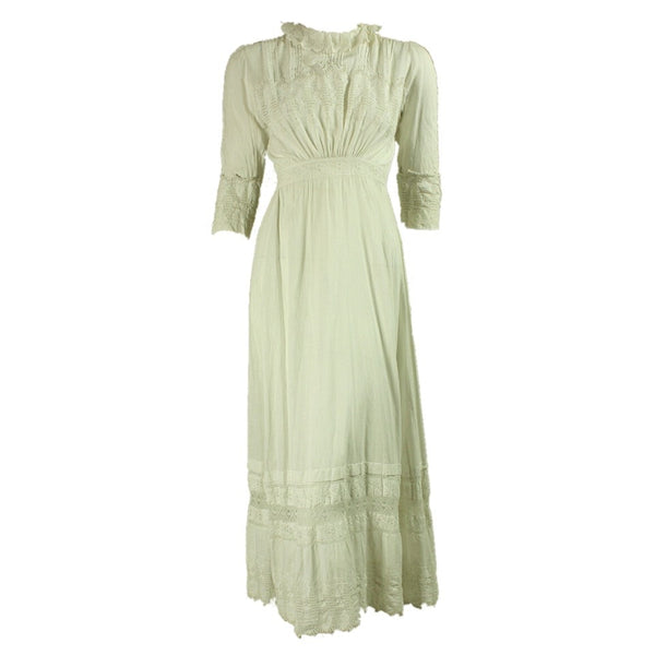 Vintage 1900's White Cotton Edwardian Tea Dress