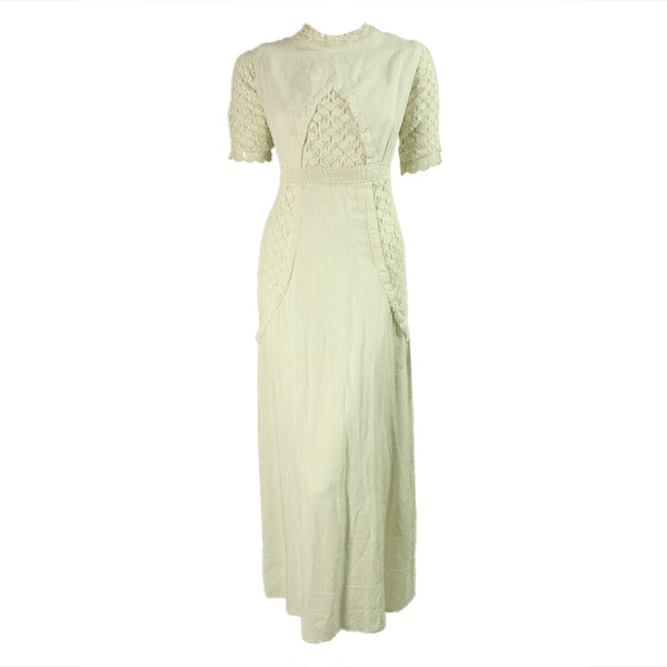 Edwardian Dress White Linen & Crochet Vintage - regenerationvintageclothing
