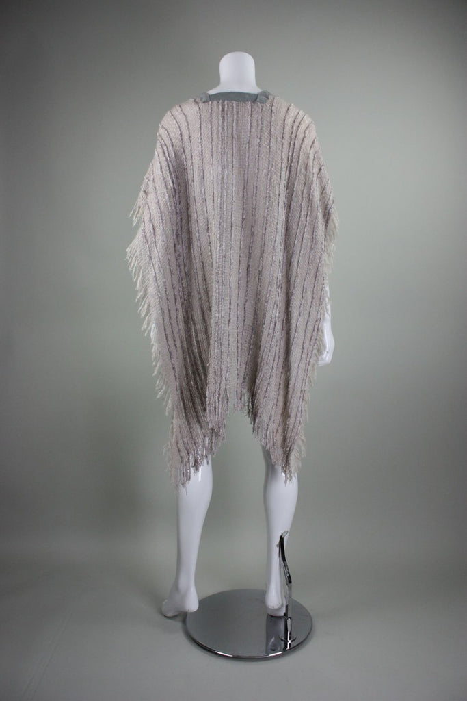 1980's Hector Gamarra Knit Poncho with Suede Detailing - regenerationvintageclothing
