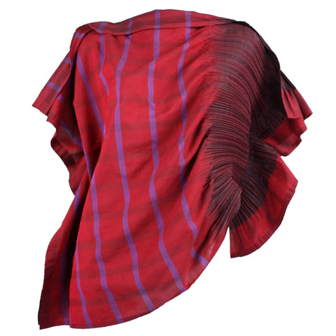 Issey Miyake Pleated APOC Assymetrical Blouse Red Striped