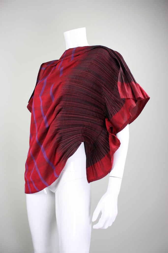 Issey Miyake Pleated APOC Assymetrical Blouse Red Striped - regenerationvintageclothing