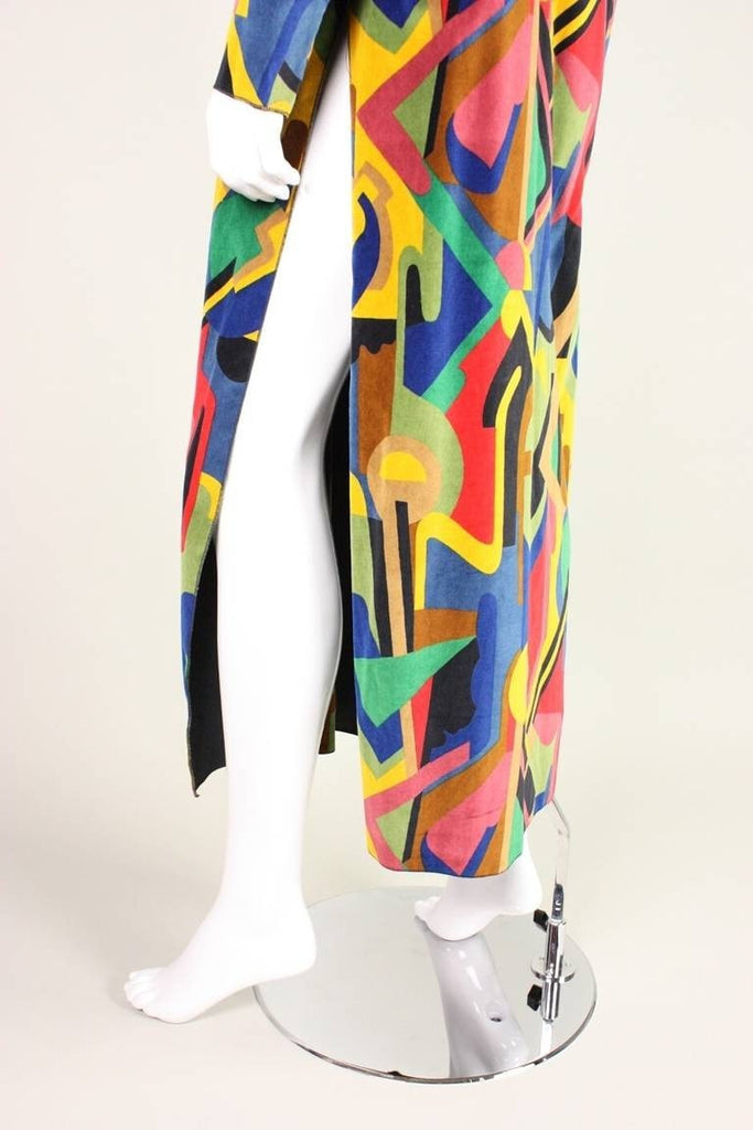 Holly's Harp Jacket 1980's Velvet with Cubist Print Vintage - regenerationvintageclothing