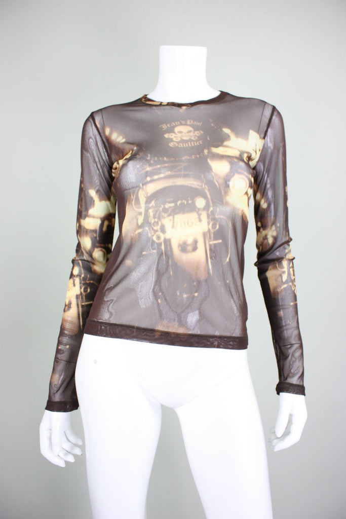 1990's Jean-Paul Gaultier Mesh Blouse with Motorcyle Motif - regenerationvintageclothing