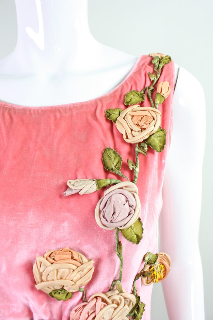 Vintage 1920s Pink Velvet Dress With Ribbon Embroidery