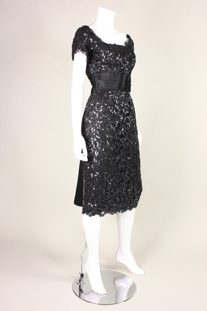 Maxwell Shieff Cocktail Dress 1950's Sequined Lace Vintage - regenerationvintageclothing