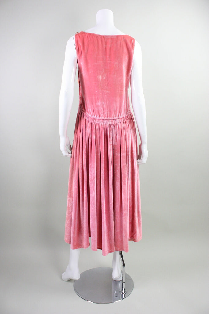 1920's Dress Pink Velvet with Ribbon Embroidery Vintage - regenerationvintageclothing