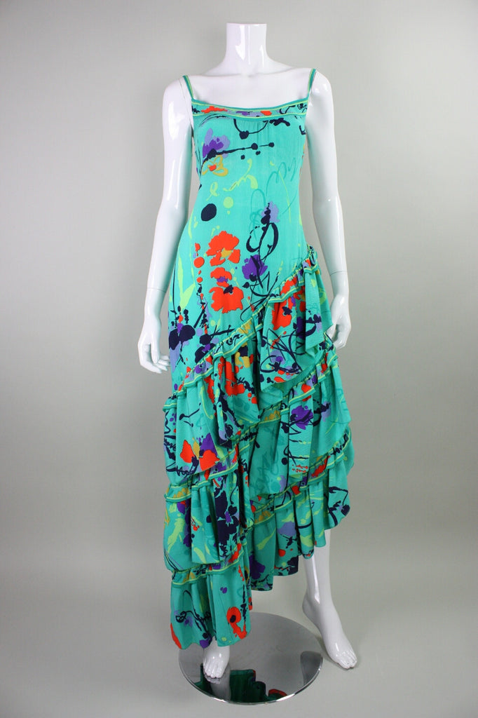 Leonard Gown 1980's Silk with Ruffled Skirt Vintage - regenerationvintageclothing