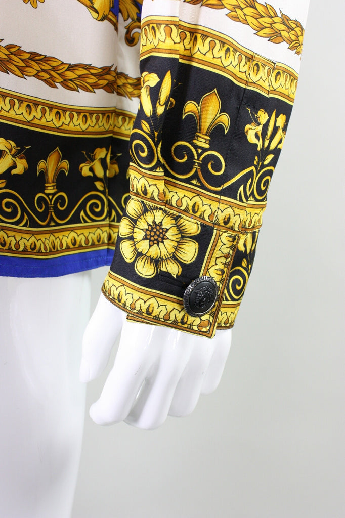 Versace Blouse 1990's Silk with Baroque Print Vintage - regenerationvintageclothing